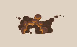 Пример освещения дыма от огненной вспышки.